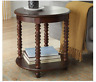 Round End Table Shelf Side Sofa Lamp Vintage Bedside Accent Antique Look