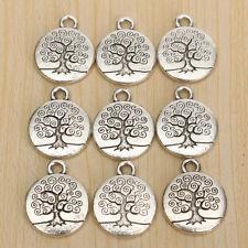 20pcs Mini Alloy Antique Vintage Silver Tone Plant Tree of Life Pendant Charm