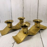 Small Vintage Brass Candlestick Holders Made in Japan Wavy Two Candle Holders