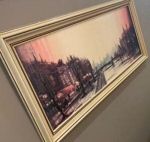 VINTAGE Ron Folland 'Cafe Quai' Mid Century Teak Framed Print PICK UP ONLY