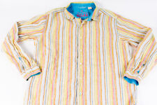 Tommy Bahama RELAX Mens Aqua Tan Striped Linen L/S Shirt Button Front Collared L