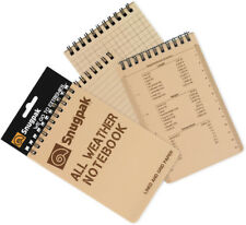 """Snugpak All Weather Notebook Size Large. 4"""" x 6"""". Tan cover. Compose notes in we"""