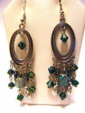GREEN  SHELL, GLASS  AND FEATHER  BEADED TIBETAN SILVER ETCHED PIERCED EARRINGS