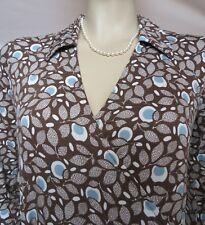 Boden Wickelkleid 34 36  Jerseykleid retro Muster Blumen braun blau Uk 8 R