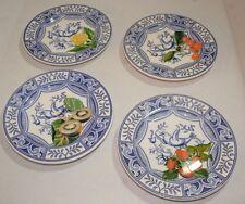 Lot of 4 Vintage Ceramic Blue Bird Italy Decorative Plates Fruit Kiwi Strawberry