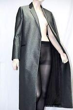 Joseph sz 6 Jacquard Plain Weave Long Coat Leather Collar Trench Women Lady Gift