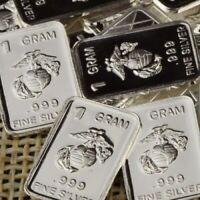 USMC Marine Corps Design. Lot of 10, 1 gram .999 Fine silver bar. Military NEW!!