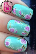 NAIL ART WRAPS WATER TRANSFERS STICKERS DECALS DECO SET PINK SWIRL FLOWERS #463