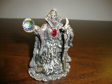 """Pewter Wizard-With Staff & Crystal-The Moon Wizard-3 1/4"""" Tall-Over 1 lb"""