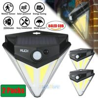2PK 84 COB LED Solar Light Motion Sensor Security Wall Light Outdoor Garden Lamp