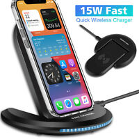 15W Qi Wireless Fast Charger Charging Stand Dock For iPhone 12 Mini / 12 Pro Max