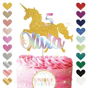 Unicorn Cake Topper Custom Glitter Unicorn Personalised GOLD Unicorn Holographic