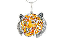 Argent Sterling 925 Baltic Amber Tigre Chat Gros Collier Pendentif Bijoux + Chaîne
