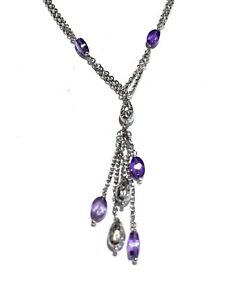 Novello 18k White Gold Amethyst Tassel Necklace & Matching Earrings .750