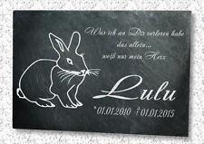 Grabstein Gedenktafel Grabplatte Urne Tiergrabstein Gedenkplatte Hase 22x16cm