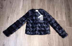 elsy girls Fuax Fur Navy Coat Age 14/16 yrs  BNWT RRP £160
