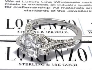 Designer Lorenzo .925 Sterling Silver 5.10ct White Topaz Antique Design Ring