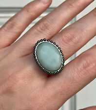 Vintage KCR 925 Green Sterling Silver Bead Trim Oval Gemstone Ring Sz 7.5