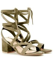Sergio Rossi Janis Low Suede Lace-Up Sandals 35.5 MSRP $795.00