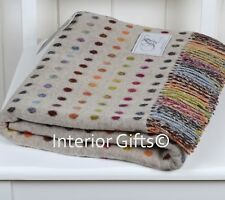 BRONTE Lambswool *STUNNING* COLOUR SPOT THROW Blanket Merino Pure New Wool beige