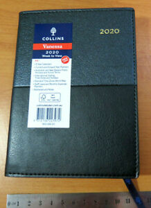 Diary 2020 Vanessa Spiral A6 Week To View 365 Stitched two toned GREY BLACK