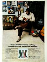 """Rosey Grier Baltimore Colts ESQUIRE SOCK 1974 Original Print Ad-8.5.x 11 """""""