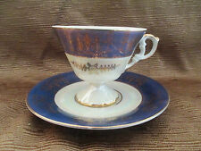 VINTAGE PORCELAIN TEA CUP SAUCER SET UNSIGNED JAPAN OPALESCENT FOOTED