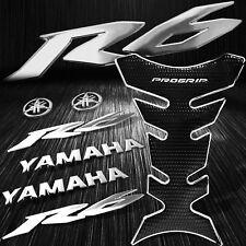"Chrome+Black Pro Fuel Tank Pad+8"" 3D Logo+Letter+for YZF-R6/R6S Emblem Sticker"