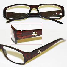 """Reading Glasses """"Pony Logo"""" Tortoise Frame Chunky Sleek Rectangle +2.25 lens"""
