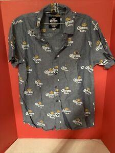 Corona Extra Button Up Denim Feel Short Sleeve Shirt Size L EUC