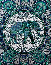"Genuine Indian Mandala Wall Tapestry Bed Sheet Table Cover Elephants 90"" x 84"""