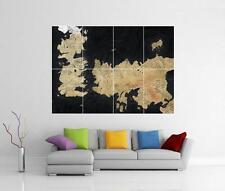 GAME OF THRONES continente occidentale & Essos Mappa Gigantesco Muro ARTE foto STAMPA POSTER