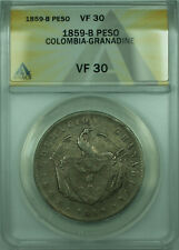 1859-B Colombia-Granadine One Peso Silver Coin ANACS VF-30 (WB1)