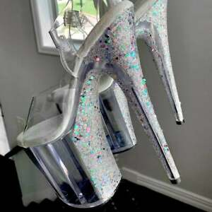 Custom Silver Holographic Glitter Heels X Pleaser Exotic Dance | Pole Dancing