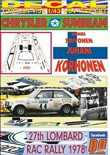 DECAL CHRYSLER SUNBEAM HENRI TOIVONEN LOMBARD RAC RALLY 1978 9th (06)