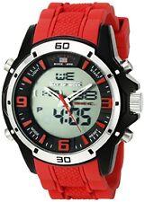 U.S. Polo Assn. Sport Mens Analog-Digital Watch W/ Red Rubber Band