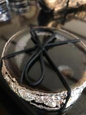 Black Agate Silver Edge, Gilded, Quartz Premium Coasters (set of 4)