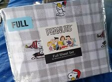 NEW Berkshire PEANUTS Full Sheet Set Christmas Sled Snoopy Woodstock gray plaid