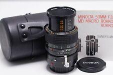 Minolta MD Macro Rokkor-X 50mm 1:3.5. =====Excellent===== With ext.tube