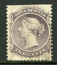Canada 1860 Nova Scotia 2¢ Queen Victoria Yellow Paper Sc 9a VFU F197