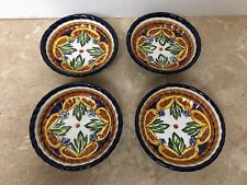 """4 Palermo Hand Painted Collection Olive Oil Dipping plates 4"""" for Z Gallerie"""