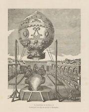 C1453 France - Giardino Réveillon - Aerostato di Montgolfier - 1890 xilografia