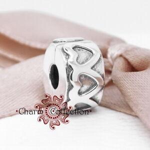 Pandora, S925 Row of Hearts Bracelet Clip Charm, NEW, 791978