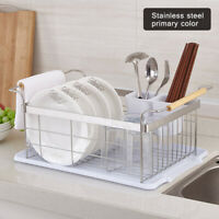 Stainless Steel 304 Kitchen Large Tableware Drain Rack Drainage Basket(Silver)