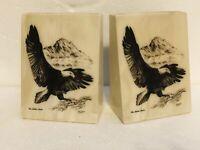 VTG Bill Devine Bald Eagle Bookends Marble Etched Design The Alaska Mint 1981