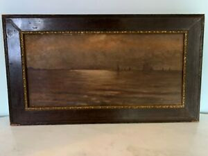 Antique Original Oil Painting Seascape sunset with boats Ornate Frame 19th C