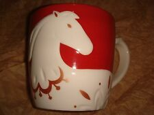 STARBUCKS MUG CHINESE NEW YEAR HORSE 2014 ~Red White NEW~