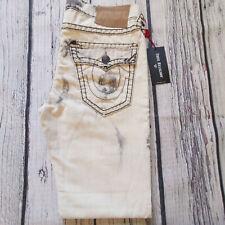 Men's True Religion Jeans 34 x 32 Ricky Super T Straight Leg White RRP £379 BNWT