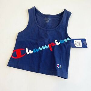 Champion Authentic Double Dry Cropped Tank Top XS Navy Blue Stretch Women's New