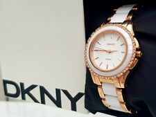 ** DKNY Ladies White Ceramic Watch Rose gold plated RRP£180 (524)